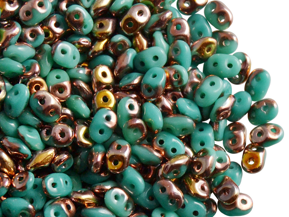 20 g 2-hole SuperDuo™ Seed Beads, 2.5x5mm, Opaque Turquoise Green Capri Gold, Czech Glass