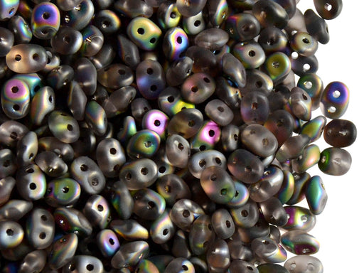 20 g 2-hole SuperDuo™ Seed Beads, 2.5x5mm, Rosaline Vitrail Matte, Czech Glass