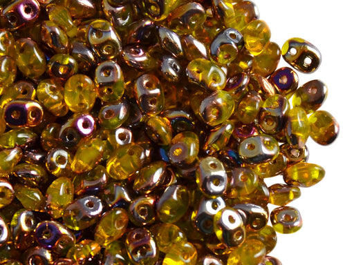 20 g 2-hole SuperDuo™ Seed Beads, 2.5x5mm, Amber Sliperit, Czech Glass
