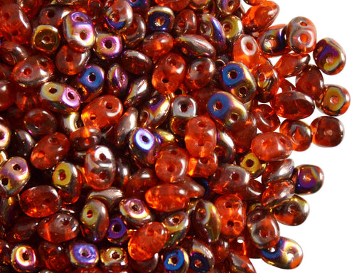 20 g 2-hole SuperDuo™ Seed Beads, 2.5x5mm, Hyacinth Sliperit, Czech Glass