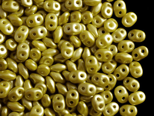 20 g 2-hole SuperDuo™ Seed Beads, 2.5x5mm, Pastel Lime Green, Czech Glass