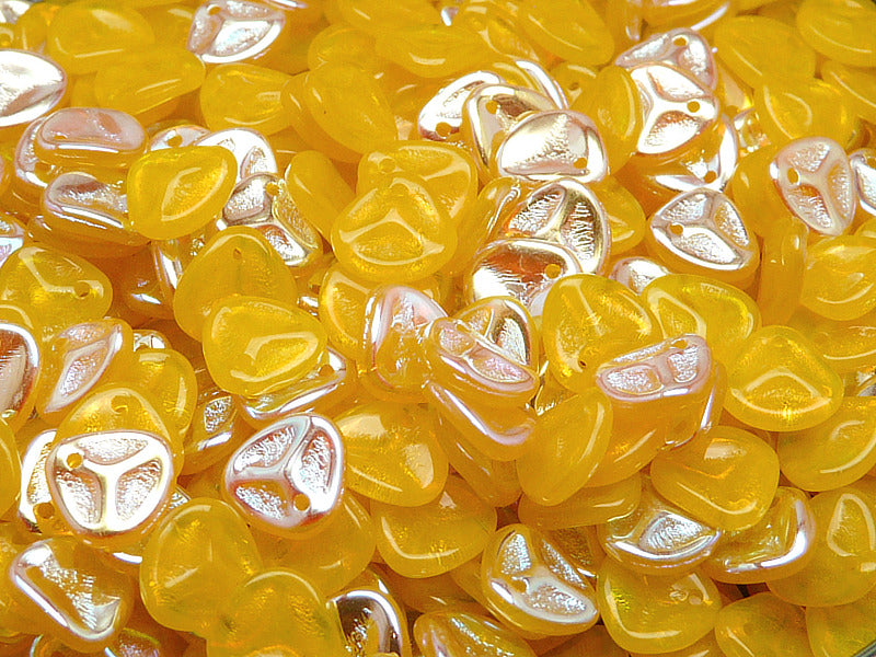 50 pcs Rose Petal Pressed Glass Beads, 7x8mm, Opaque Yellow AB, Czech Glass