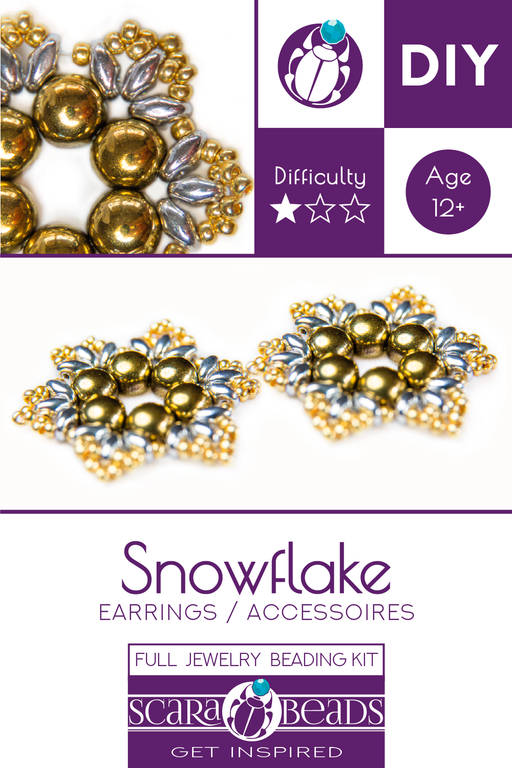Exclusive DIY Beading Kit For Making Jewelry Snowflake 2pcs, Gold Silver, Czech Glass Beads