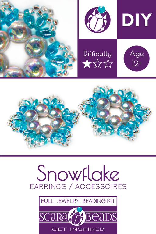 Exclusive DIY Beading Kit For Making Jewelry Snowflake 2pcs, Aqua Silver, Czech Glass Beads