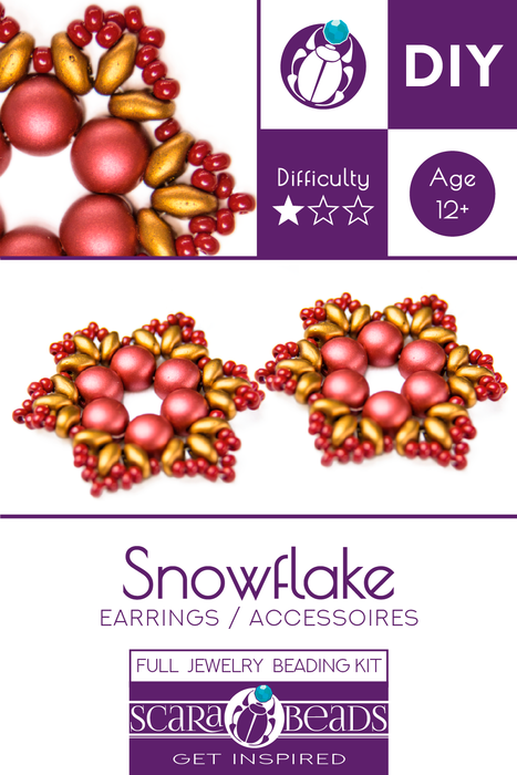 Exclusive DIY Beading Kit For Making Jewelry Snowflake 2pcs, Gold Red, Czech Glass Beads