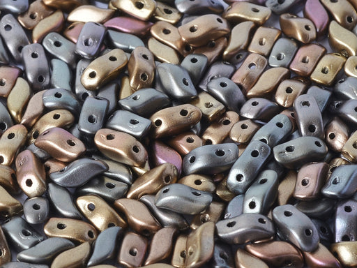 50 pcs 2-hole StormDuo® Pressed Beads, 3x7mm, Zinc Iris, Czech Glass