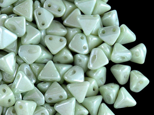 50 pcs Super Khéops® Par Puca® 2-hole Beads, 6mm, Opaque Light Green Ceramic Look, Czech Glass