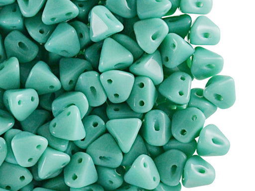 50 pcs Super Khéops® Par Puca® 2-hole Beads, 6mm, Opaque Green Turquoise, Czech Glass