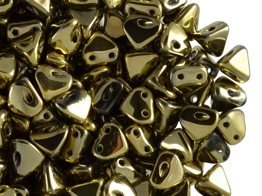 50 pcs Super Khéops® Par Puca® 2-hole Beads, 6mm, Full Dorado (Crystal Full Amber), Czech Glass