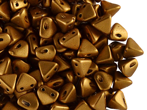 50 pcs Super Khéops® Par Puca® 2-hole Beads, 6mm, Bronze Gold Mat, Czech Glass