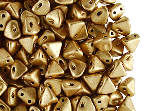 50 pcs Super Khéops® Par Puca® 2-hole Beads, 6mm, Light Gold Mat, Czech Glass