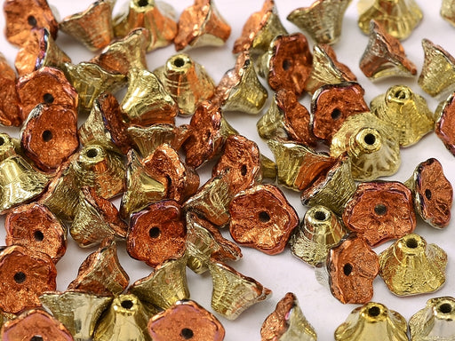 Flower Cup Beads 7x5 mm Jet California Gold Rush Czech Glass Gold