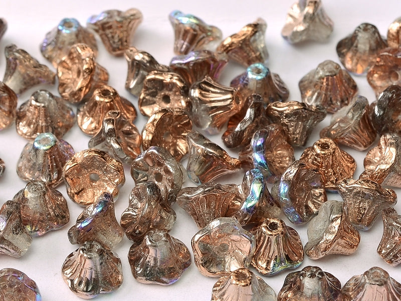 Flower Cup Beads 7x5 mm Crystal Copper Rainbow Czech Glass Brown Multicolored