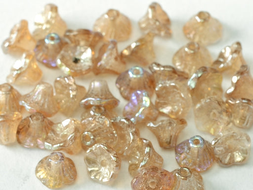 Flower Cup Beads 7x5 mm Crystal Brown Rainbow Czech Glass Brown Multicolored