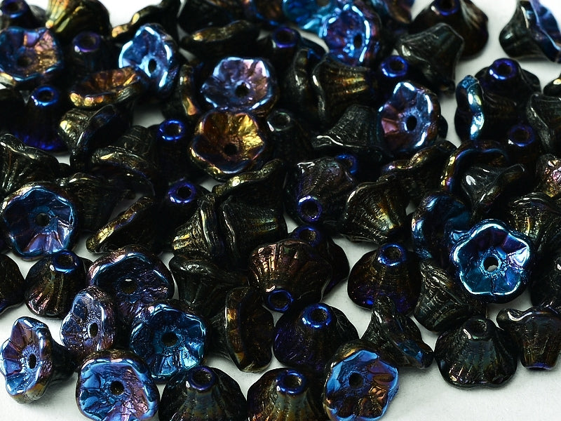 Flower Cup Beads 7x5 mm Jet Full Azuro Czech Glass Blue Black Multicolored