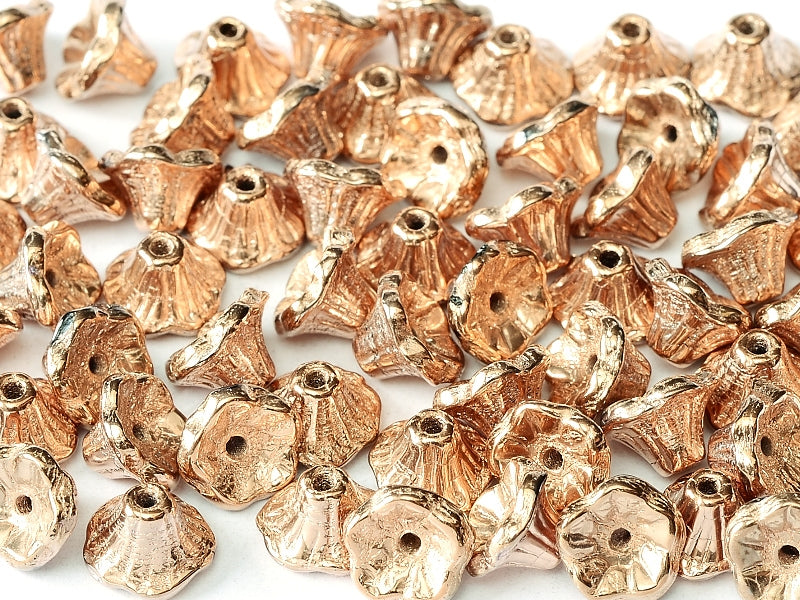 Flower Cup Beads 7x5 mm Jet Capri Gold Full Czech Glass Gold