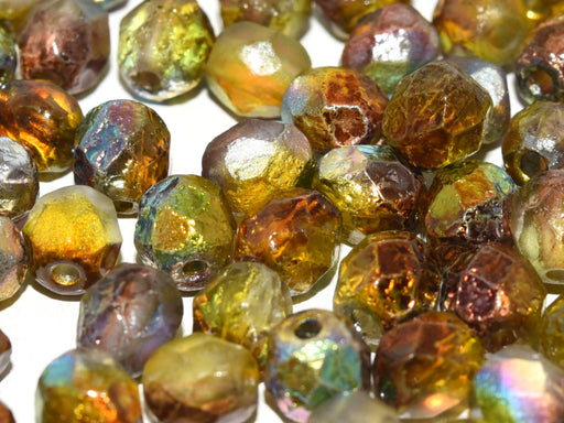 Fire Polished Beads 6 mm Crystal Etched Magic Green Czech Glass Multicolored Green