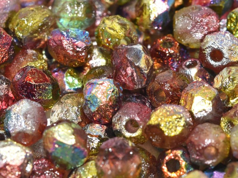 Fire Polished Beads 6 mm Crystal Etched Magic Apple Czech Glass Multicolored