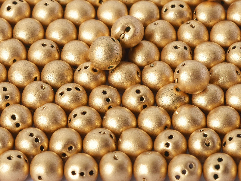 RounTrio® Beads 6 mm 3 Holes Aztec Gold Czech Glass Gold