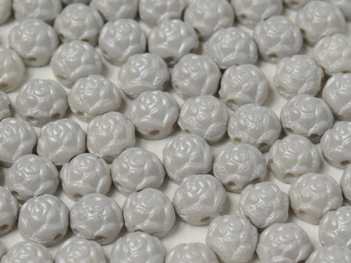 30 pcs Rosetta Cabochons, 6mm, 2-Hole, Czech Glass, Alabaster Pastel Grey