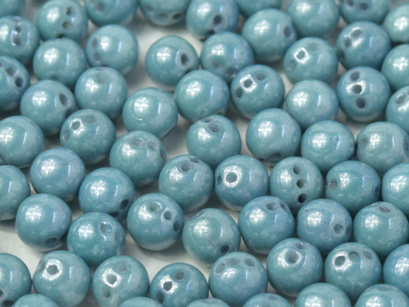 RounTrio® Beads 6 mm 3 Holes Chalk White Baby Blue Luster Czech Glass Blue