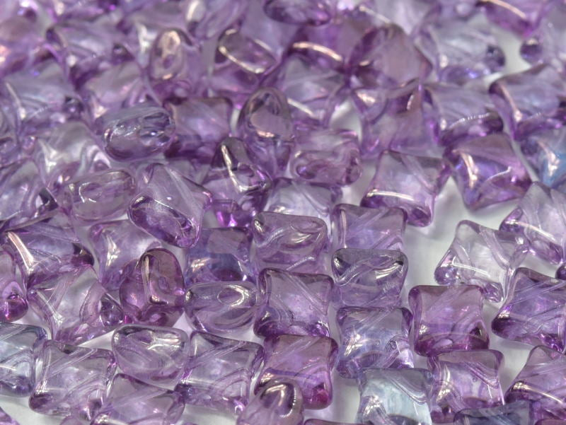 25 pcs WibeDuo® Beads, 8x8 mm,2-Hole, Czech Glass, Crystal Lila Vega Luster