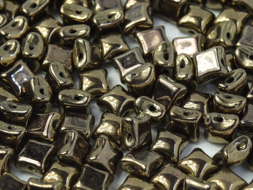 25 pcs WibeDuo® Beads, 8x8 mm,2-Hole, Czech Glass, Jet Gold