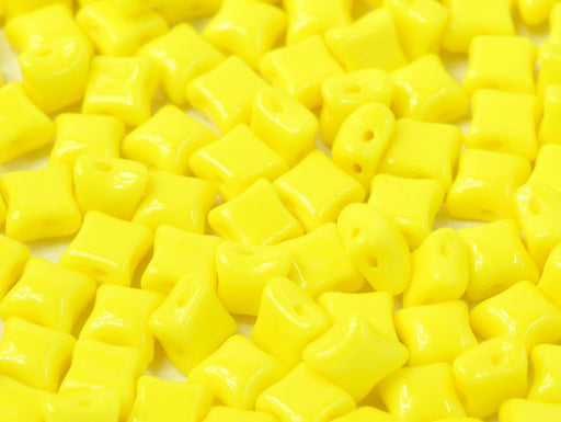25 pcs WibeDuo® Beads, 8x8 mm,2-Hole, Czech Glass, Opaque Lemon