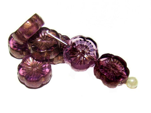 12 pcs Table Cut Flower Beads, 12mm, Amethyst Bronze, Czech Glass