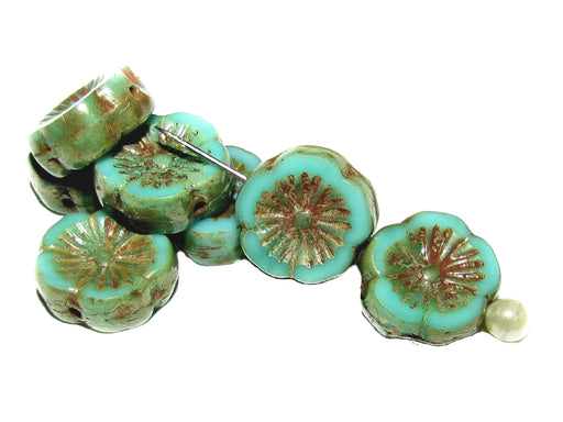 12 pcs Table Cut Flower Beads, 12mm, Opaque Green Turquoise Picasso, Czech Glass