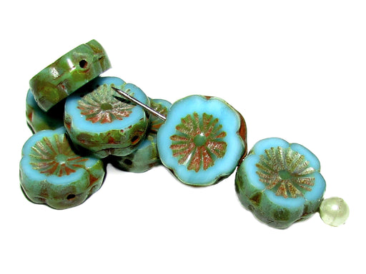 12 pcs Table Cut Flower Beads, 12mm, Opaque Blue Turquoise Travertine Dark, Czech Glass