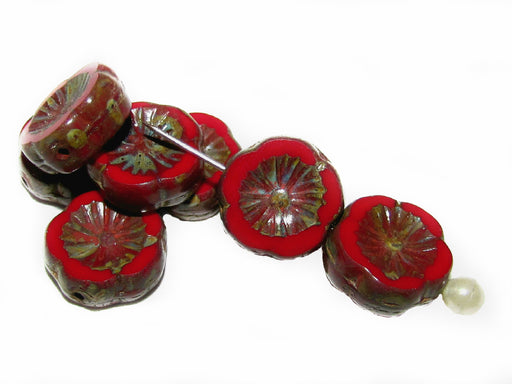 12 pcs Table Cut Flower Beads, 12mm, Coral Red Travertine Dark, Czech Glass