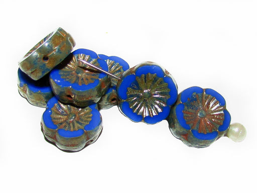 12 pcs Table Cut Flower Beads, 12mm, Blue Opaque Picasso, Czech Glass