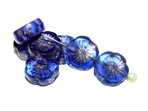 12 pcs Table Cut Flower Beads, 12mm, Sapphire Vega Iris, Czech Glass