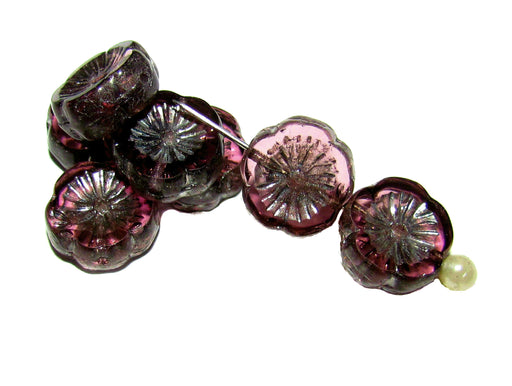 12 pcs Table Cut Flower Beads, 12mm, Amethyst Silver Picasso, Czech Glass