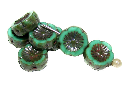 12 pcs Table Cut Flower Beads, 12mm, Opaque Green Turquoise Glaze, Czech Glass