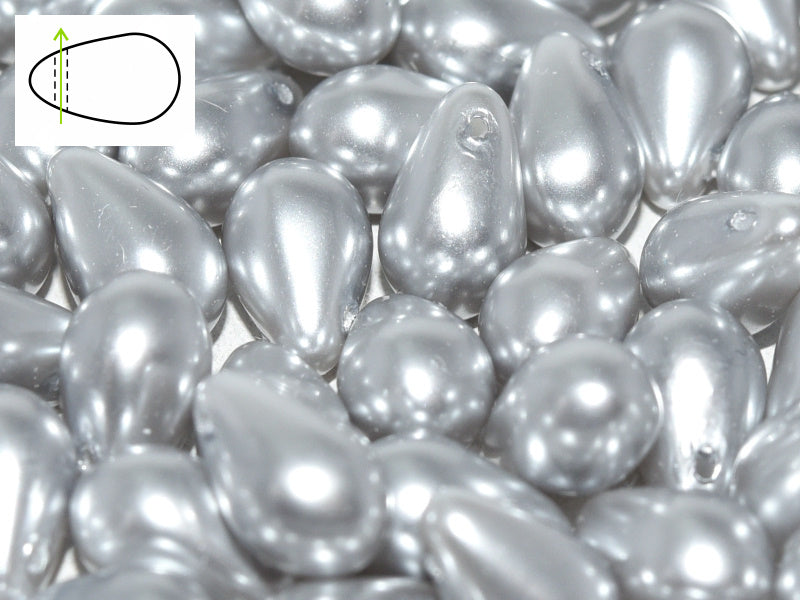 30 pcs Teardrop Glass Beads, 6x9mm, Pearls Platinum, Czech Glass