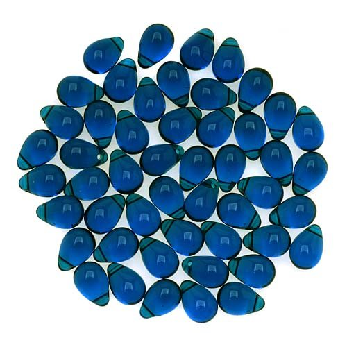 30 pcs Teardrop Glass Beads, 6x9mm, Dark Aquamarine, Czech Glass