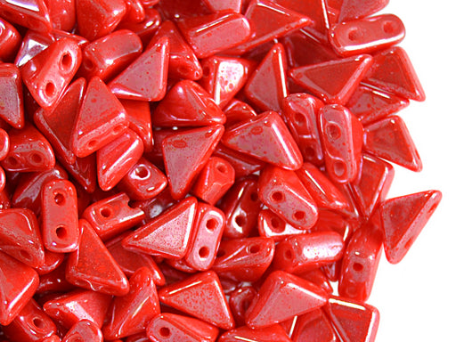 24 pcs 2-hole Tango Beads, 6x6x8mm, Red Coral White Luster, Czech Glass