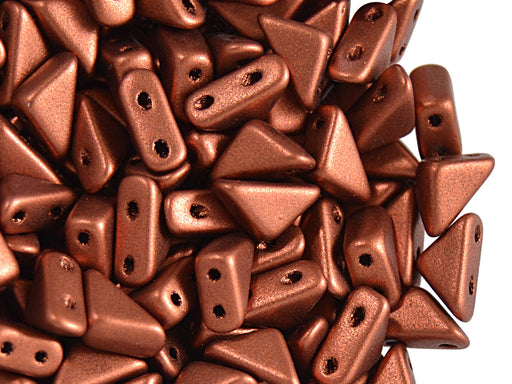 24 pcs 2-hole Tango Beads, 6x6x8mm, Copper Metallic, Czech Glass