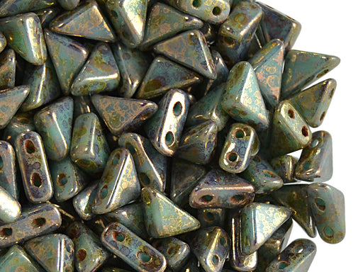 24 pcs 2-hole Tango Beads, 6x6x8mm, Opaque Turquoise Bronze Plated, Czech Glass