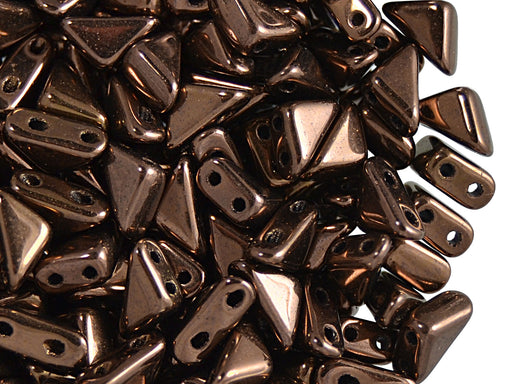 24 pcs 2-hole Tango Beads, 6x6x8mm, Jet Bronze Luster, Czech Glass