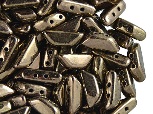 50 pcs Tinos® Par Puca® 2-hole Beads, 10x4mm, Dark Gold Bronze, Czech Glass