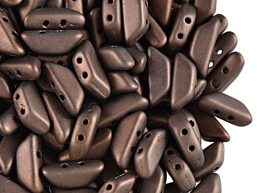 50 pcs Tinos® Par Puca® 2-hole Beads, 10x4mm, Dark Bronze Mat, Czech Glass