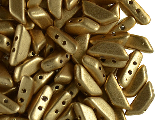 50 pcs Tinos® Par Puca® 2-hole Beads, 10x4mm, Light Gold Mat, Czech Glass