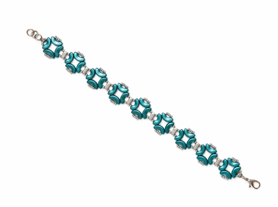 1 pc DIY Beading Kit for Jewelry Making (Bracelet) Magic Identity, Turquoise Silver, Czech Glass Beads
