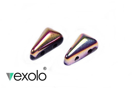 30 pcs 2-hole Vexolo® Beads, 5x8mm, Jet Gold Capri, Czech Glass