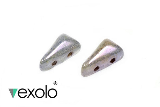 30 pcs 2-hole Vexolo® Beads, 5x8mm, Alabaster Lazure Blue, Czech Glass