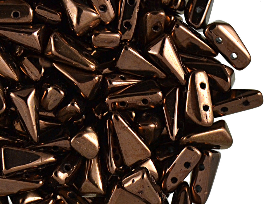 30 pcs 2-hole Vexolo® Beads, 5x8mm, Jet Bronze Luster, Czech Glass