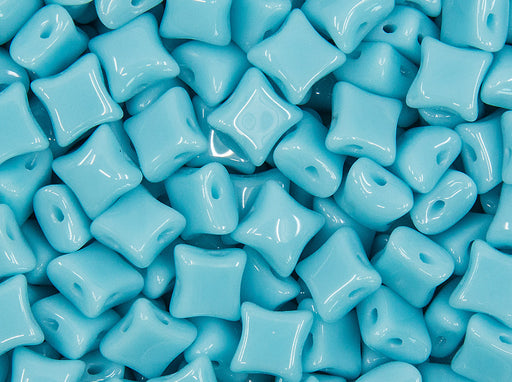 25 pcs WibeDuo® Beads, 8x8 mm,2-Hole, Czech Glass, Opaque Blue Turquoise